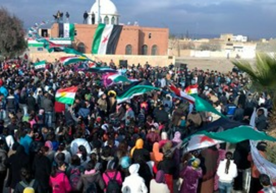 Syrians protest against Assad in Amude