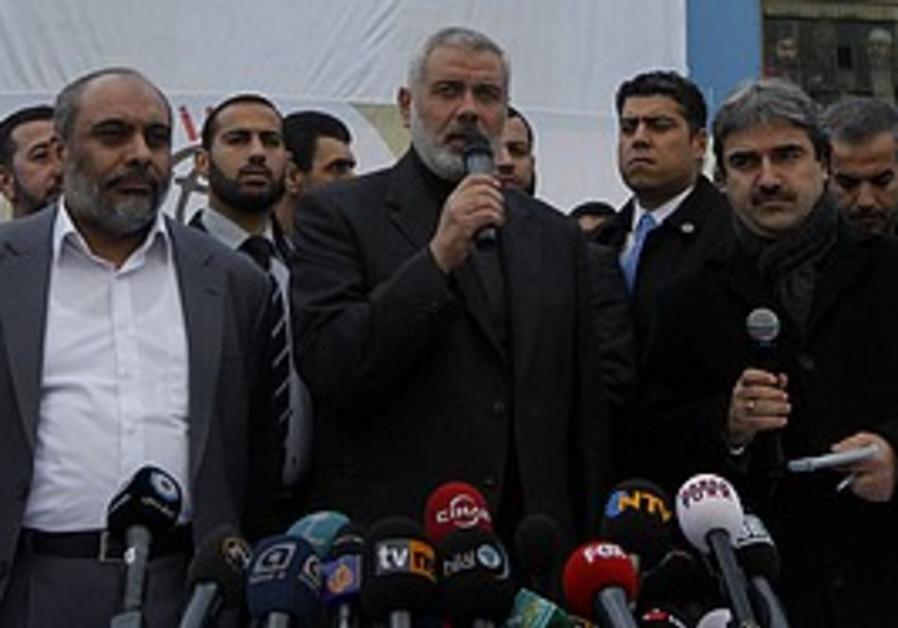 Haniyeh speaks in front of the 'Mavi Marmara,' Mon