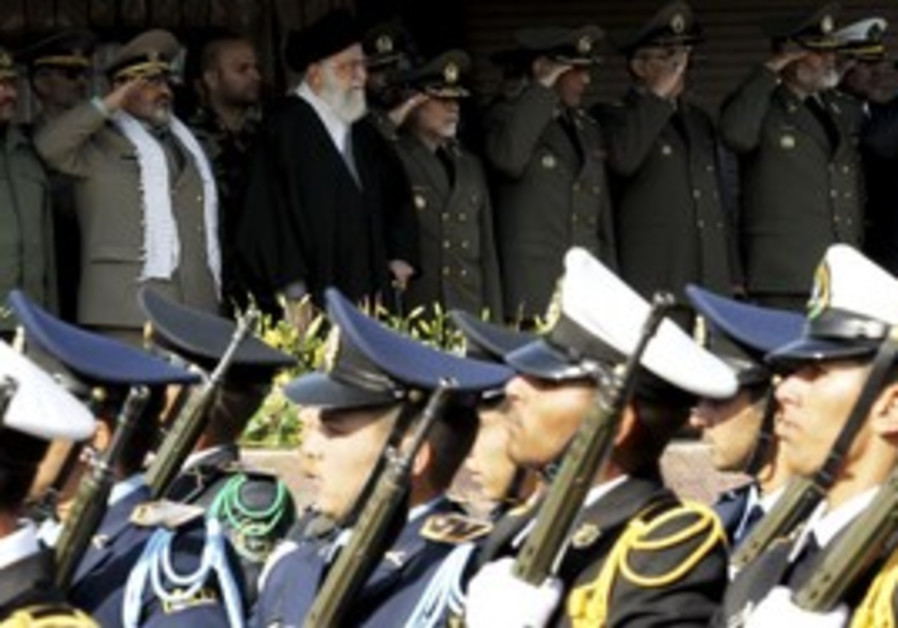 Army commander General Salehi stand with Khamenei