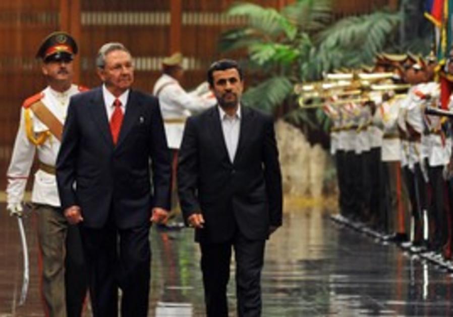 Iranian President Ahmadinejad arrive in Cuba