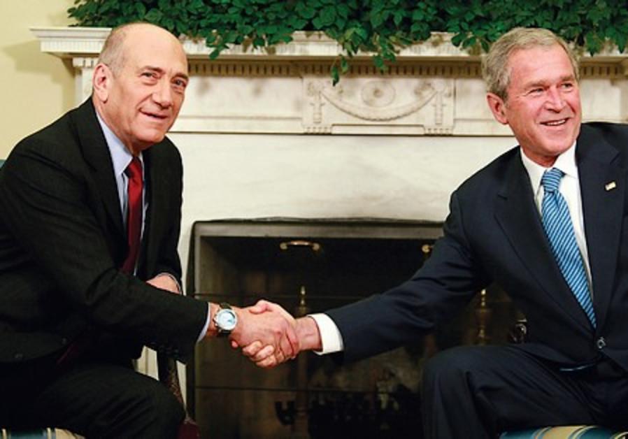 George W Bush and  prime minister Ehud Olmert