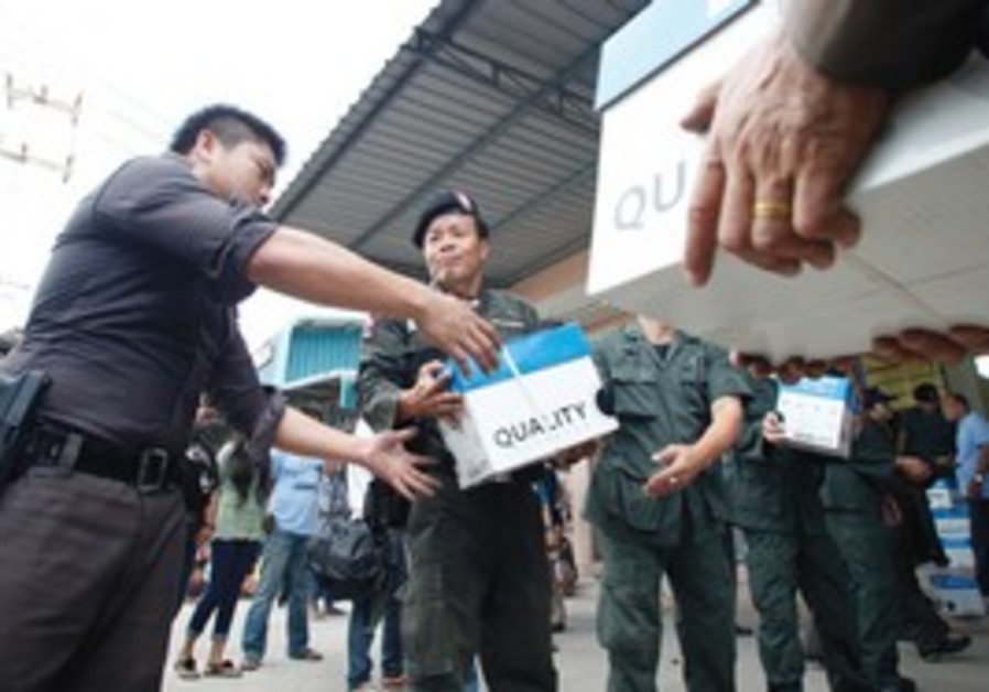 Thailand police confiscate explosives.