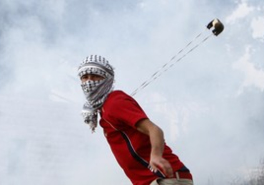 Palestinian throws stone at W. Bank demonstration