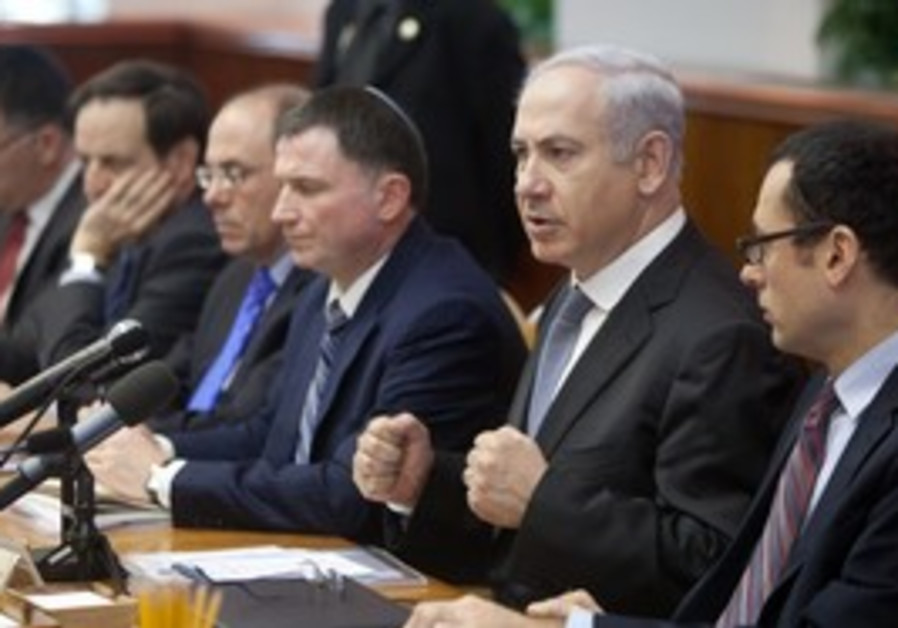 Prime Minister Netanyahu at cabinet meeting