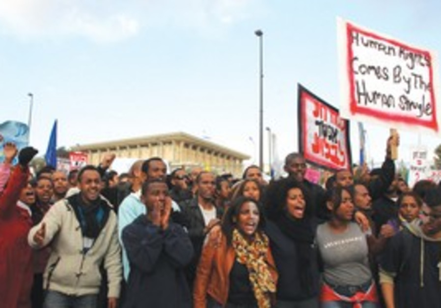 Ethiopian-Israelis at a demonstration