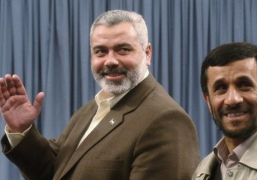 Hamas PM Haniyeh and Ahmadinejad [file]