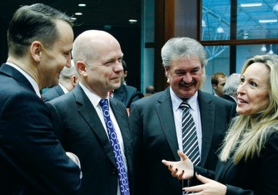 EU foreign ministers talking in Brussels