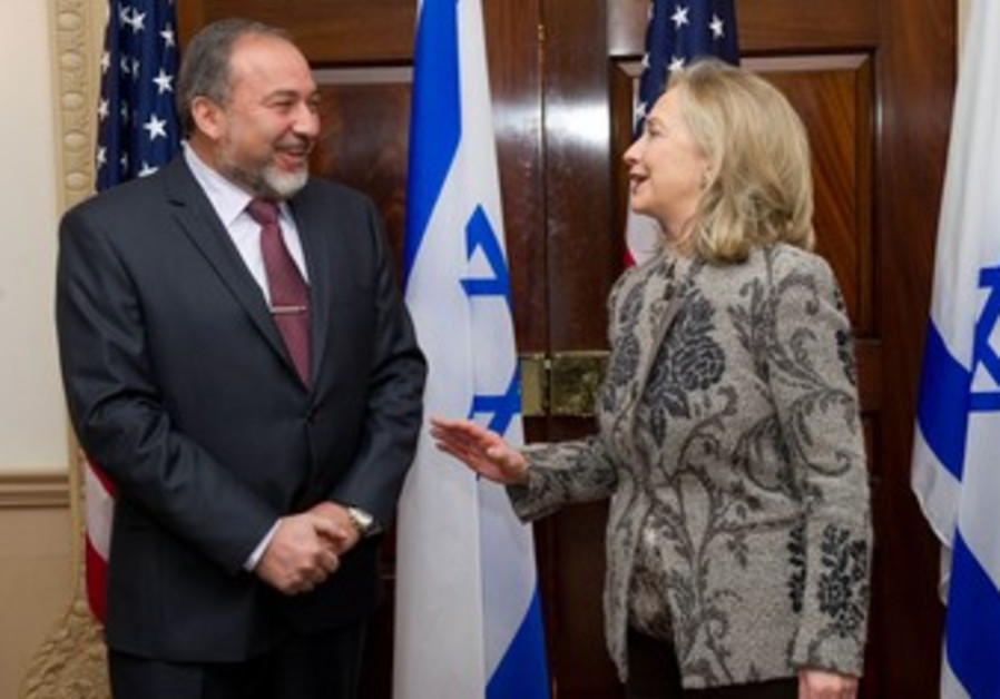 FM Lieberman meets Hillary Clinton in Washington