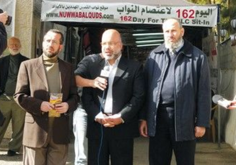 The Hamas men in front of J'lem Red Cross compound