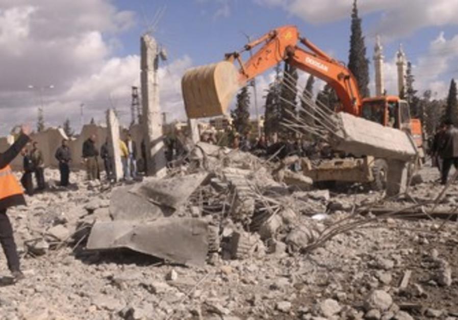Excavator at site of Aleppo blasts