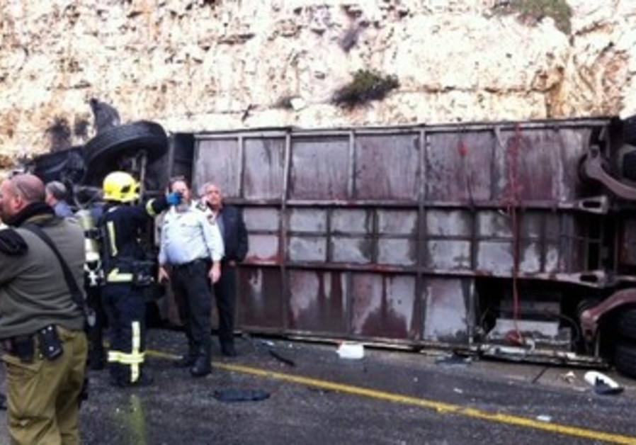 Overturned bus in Jerusalem