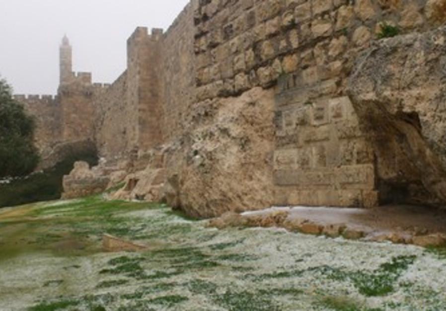 Snow near Old City, Jerusalem