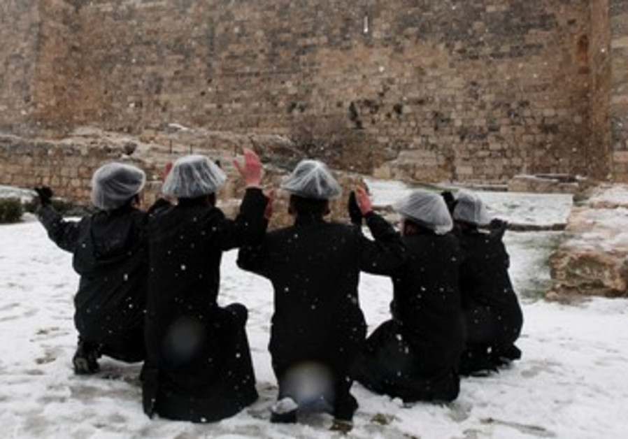 Haredim admire the view of the Old City