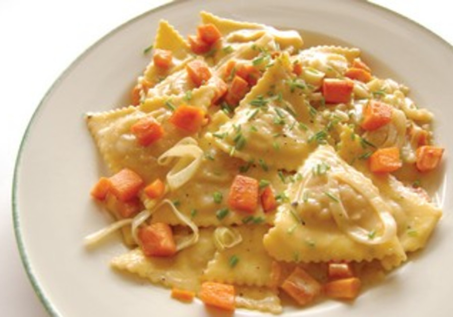 Sweet Potato Ravioli with Leek