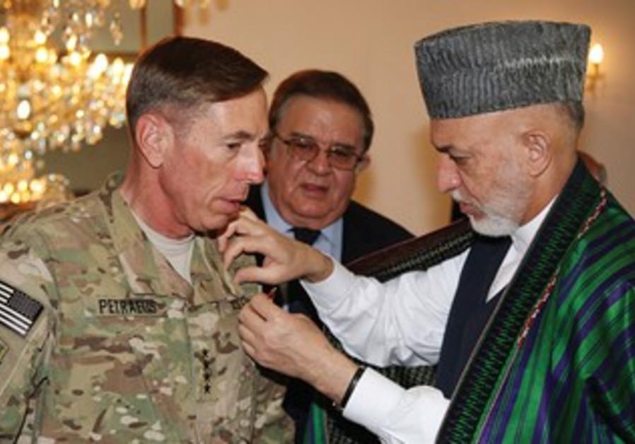 Afghan President Karzai with then-Gen. Petraeus