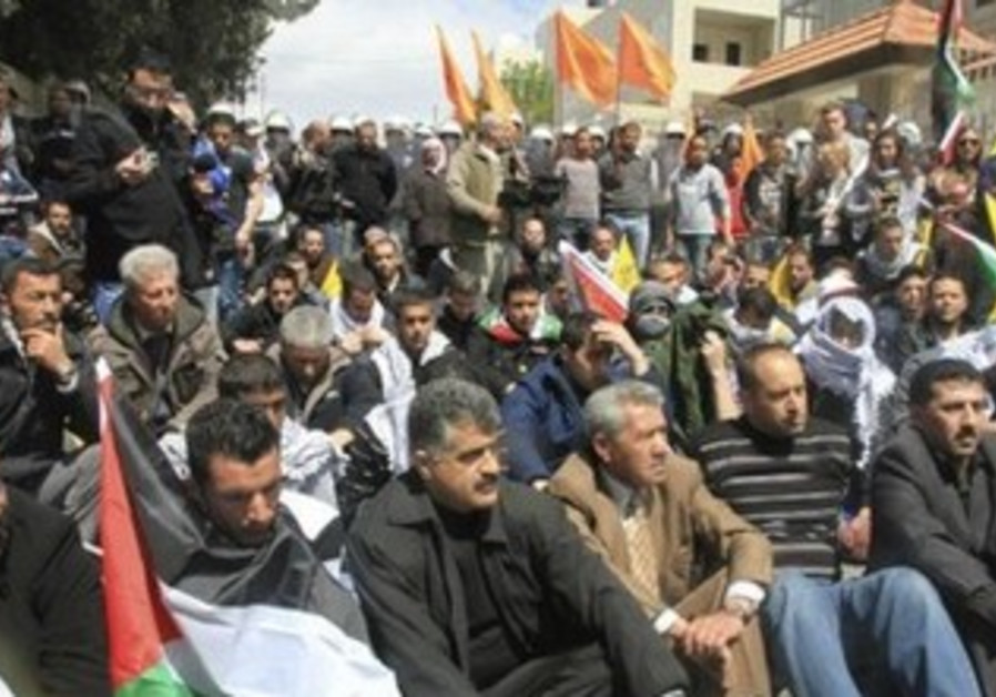 Protesters sitting near Bethlehem on Land Day