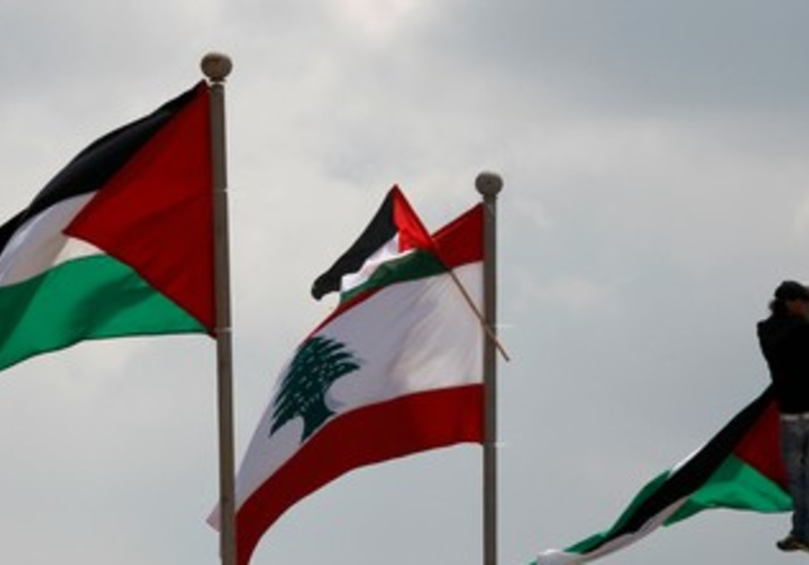 Man atop flag pole in Land Day protest in Lebanon