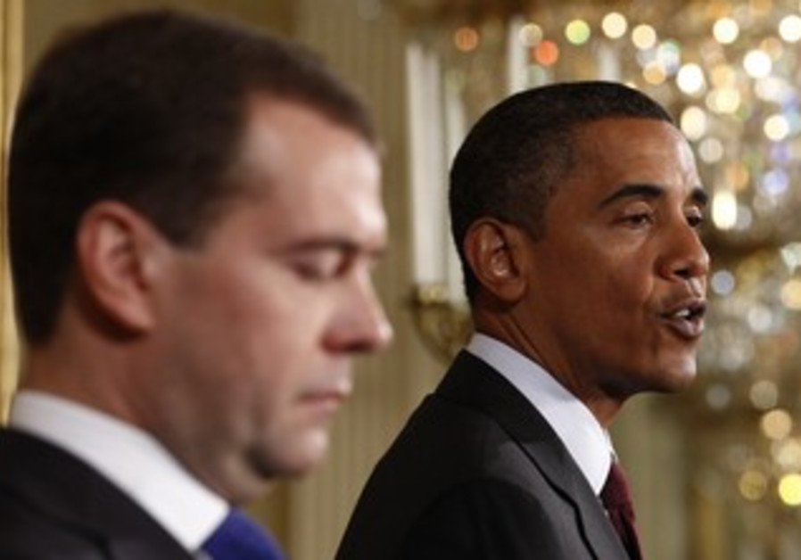 US President Obama with Russian President Medvedev