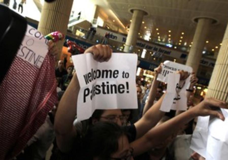 Pro-Palestinian activists at B-G Airport  [file]