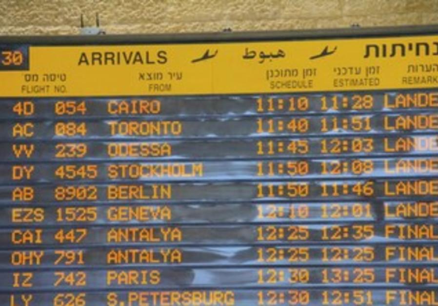 Arrivals board at Ben-Gurion Airport