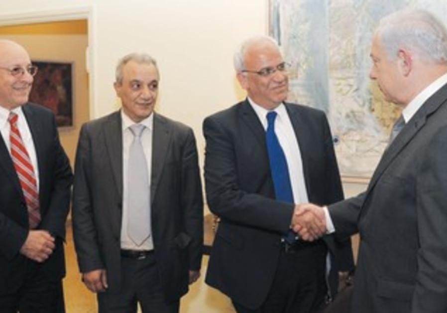 Netanyahu greets Palestinian delegation