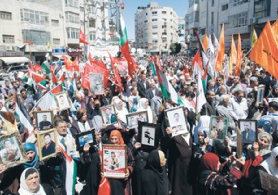 PALESTINIANS RALLY in Ramallah for Prisoners Day