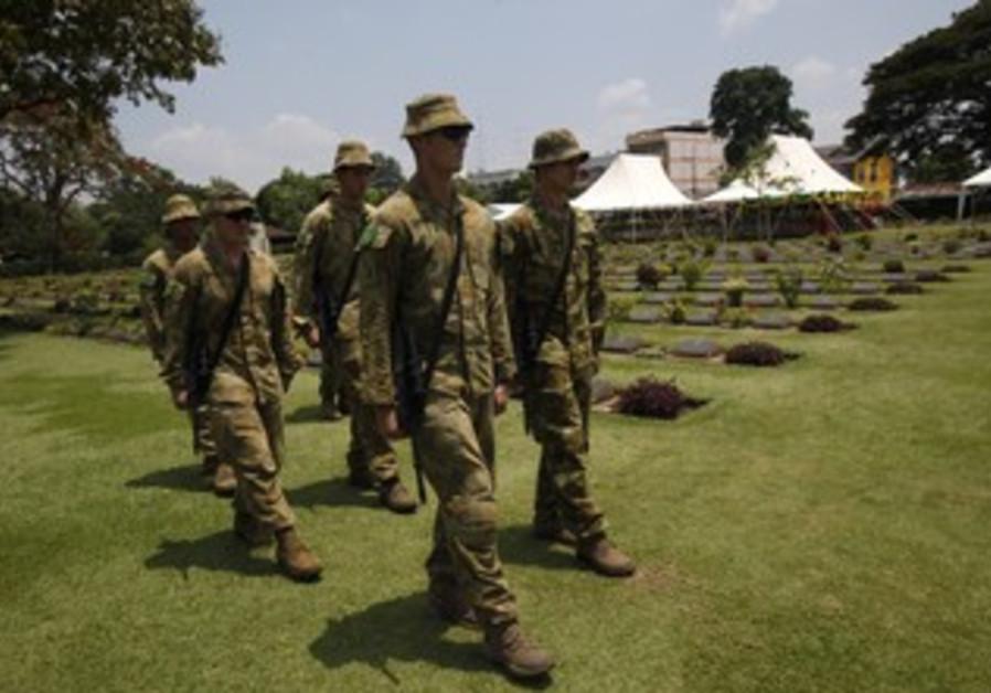 Australian soldiers prior to ANZAC ceremony