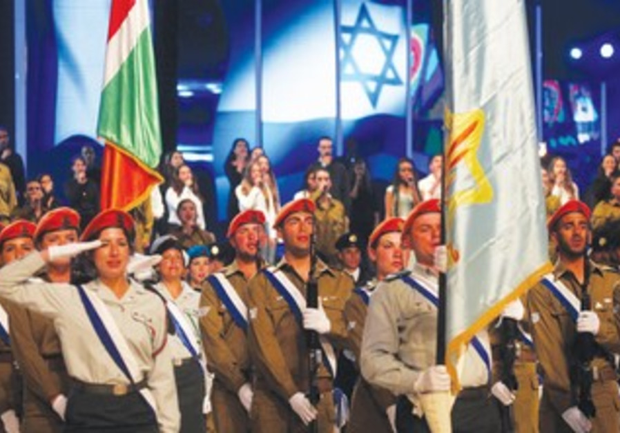 Soldiers march at Mt. Herzl on Independence Day