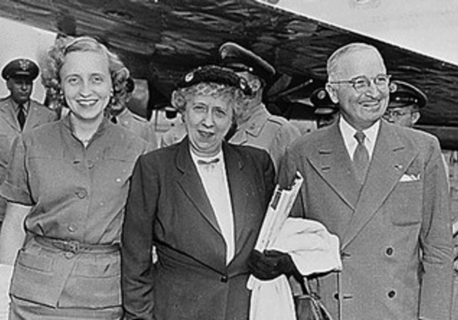 Harry Truman with his wife and daughter