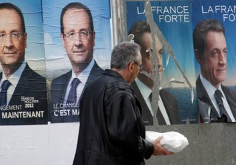 Posters of Francois Hollande Nicolas Sarkozy