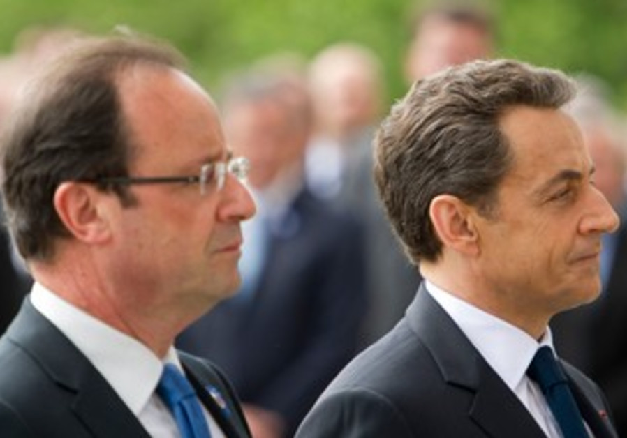 Sarkozy and Hollande at VE Day ceremony