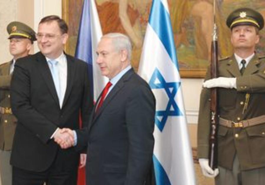 Netanyahu with Czech counterpart, Petr Necas