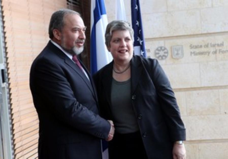 Avigdor Liberman with Janet Napolitano.