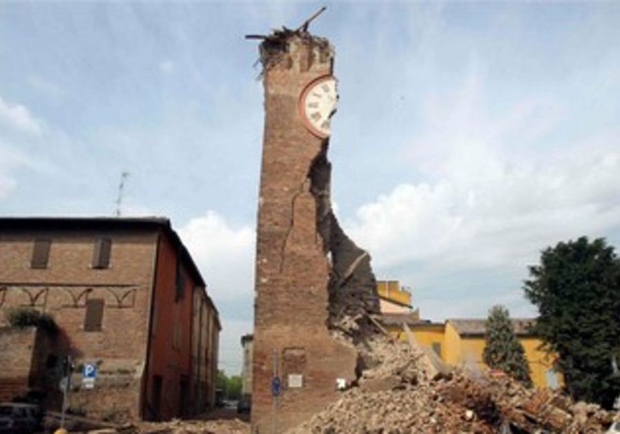 Damage from earthquake near Bologna, Italy