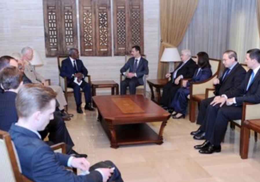 Assad meets Annan in Damascus