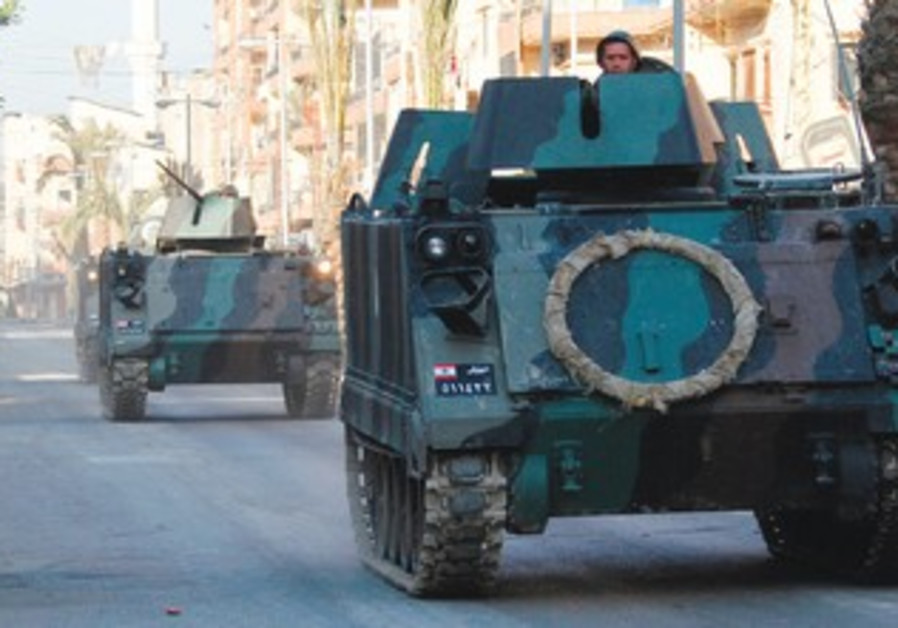 Tanks on the streets of Tripoli in Lebanon