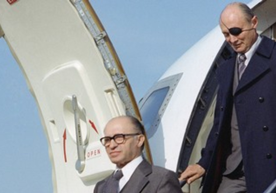 Menachem Begin (front, followed by Moshe Dayan)