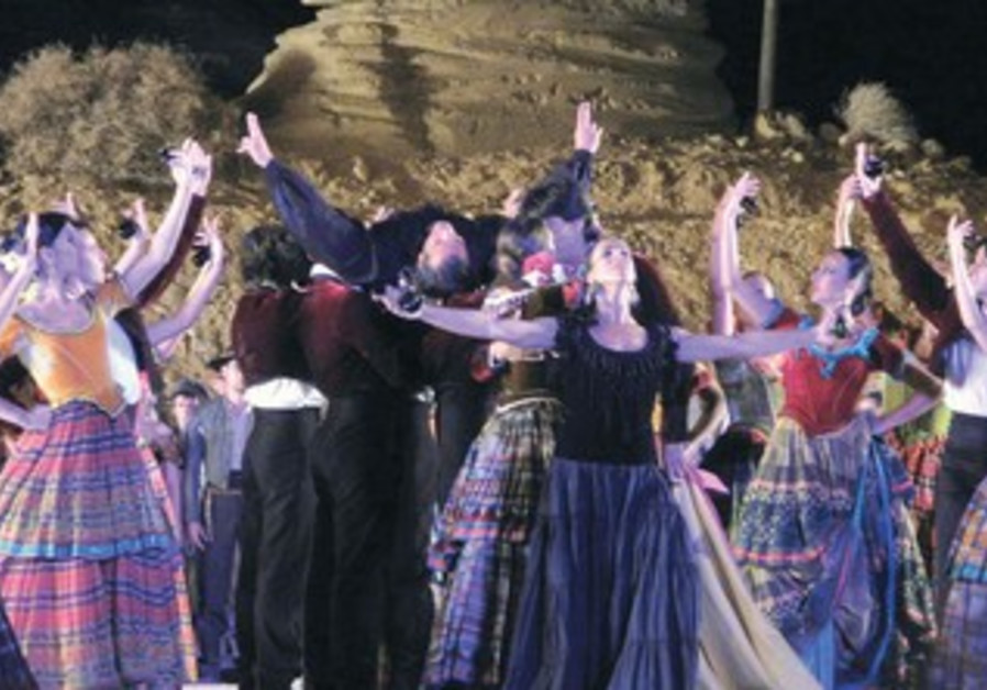 THE CAST of 'Carmen' performs at Masada.