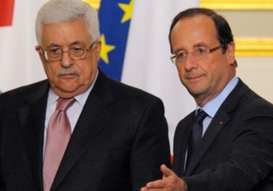 Hollande and Abbas at Elysee Palace in Paris