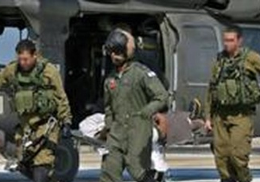 Injured soldier evacuated by helicopter