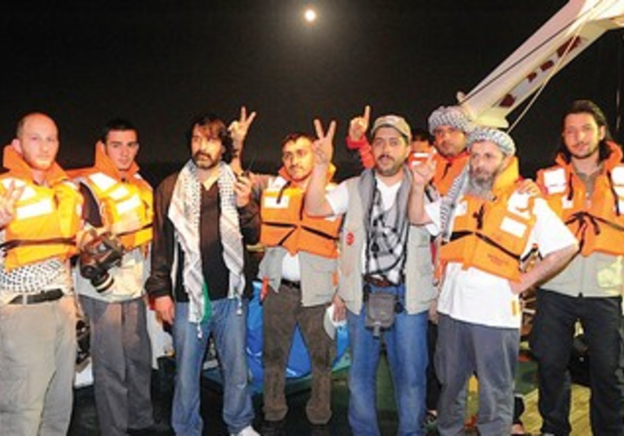 Activists pose on Mavi Marmara