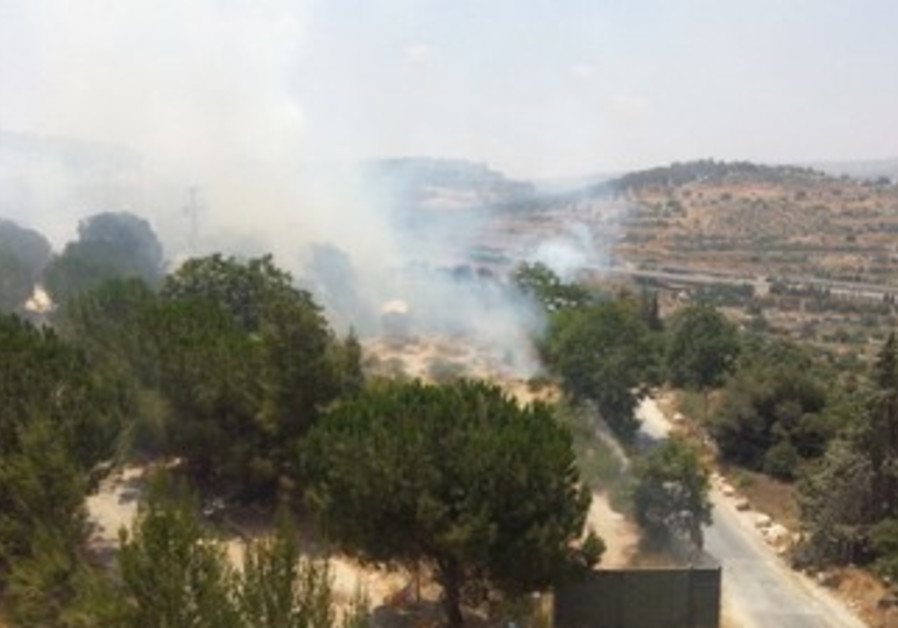 Fire burns in village of Lifta near J'lem