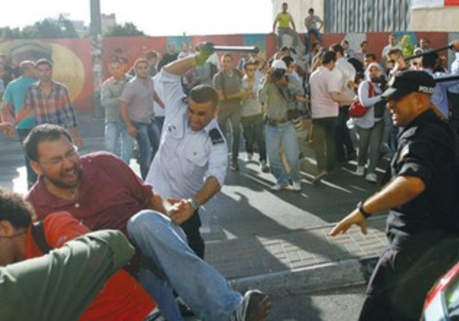 PALESTINIAN SECURITY forces clash with protesters