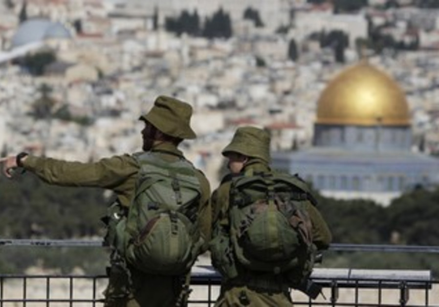 IDF soldiers view J'lem from Mt. of Olives