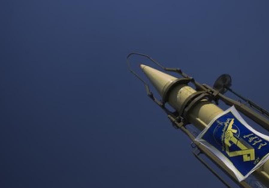Iranian Shahab 2 missile bearing crest of IRGC
