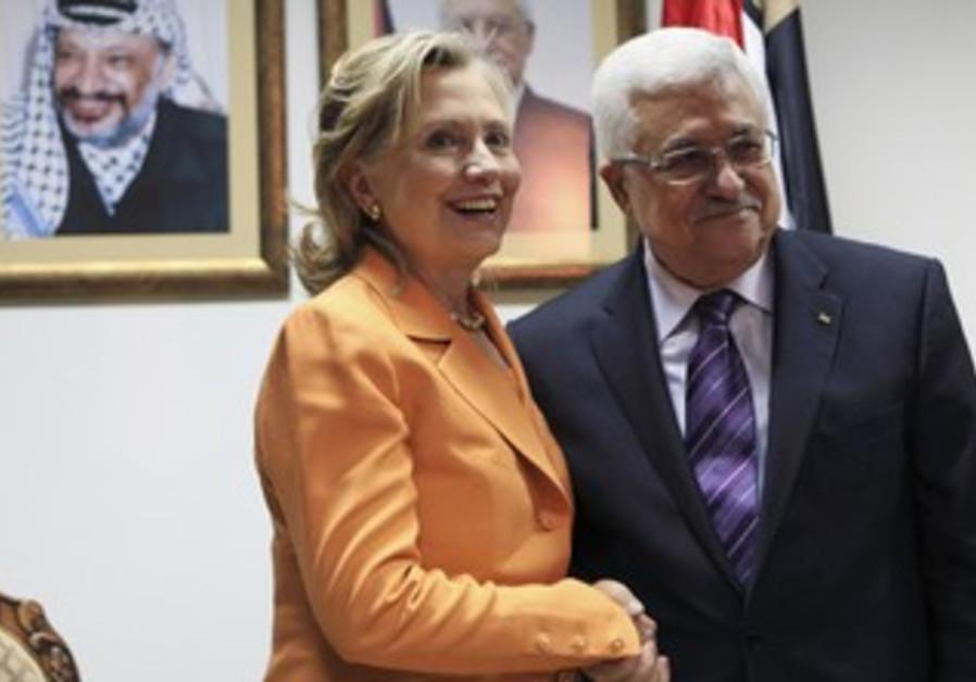Clinton with Abbas during 2010 Ramallah visit