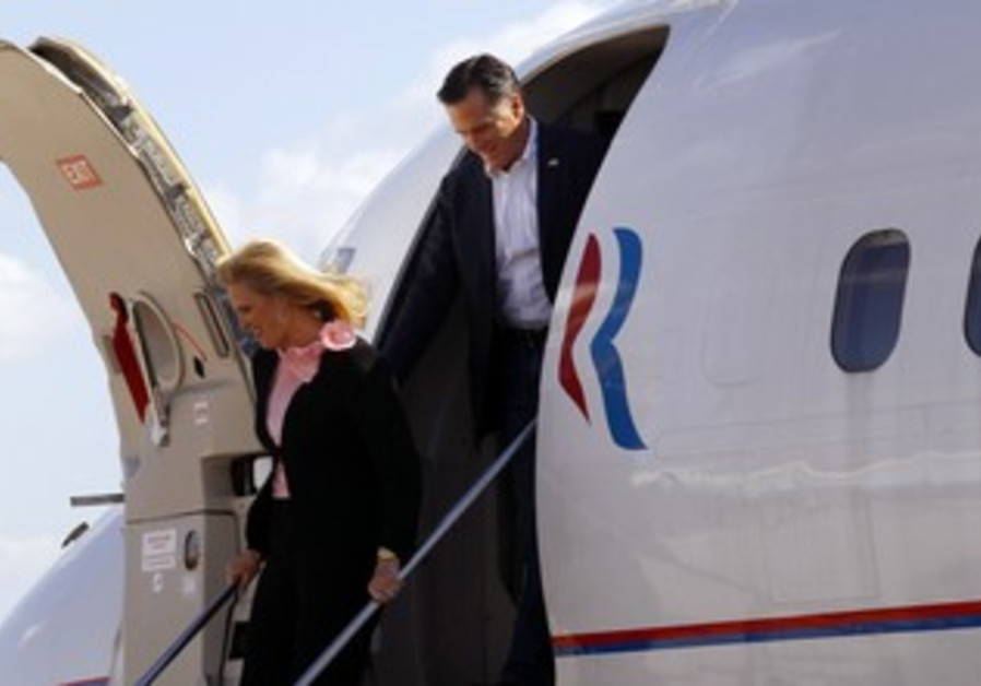 Mitt Romney steps off his campaign plane [file]