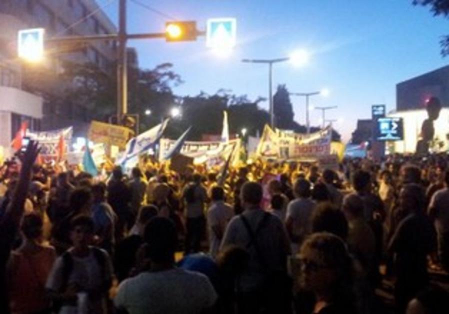 Social justice protesters in Habima Square