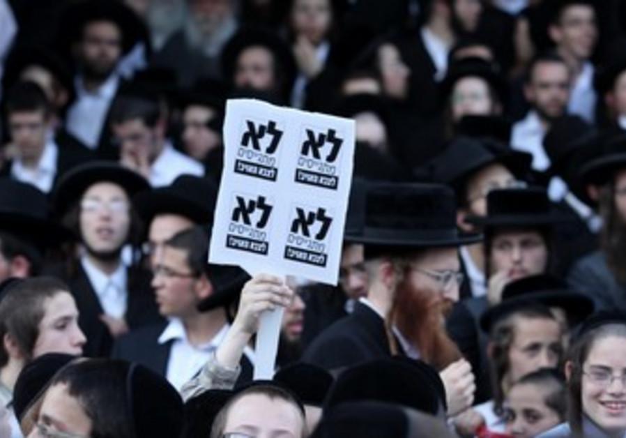 Haredi Jews protest Tal Law.