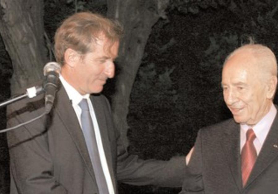 French Ambassador Bigot with President Peres